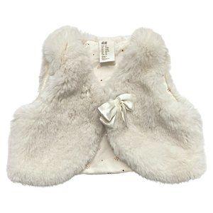 H&M Cream Faux Fur Ribbon Tie Vest